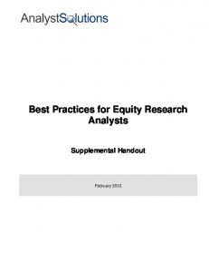 Best Practices for Equity Research Analysts - Societies