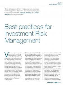 Best practices for Investment Risk Management - Markit