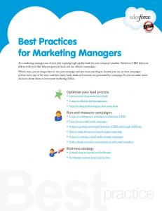 Best Practices for Marketing Managers - Salesforce.com