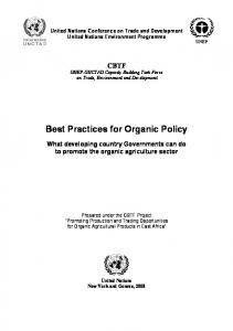 Best Practices for Organic Policy. What developing country ...