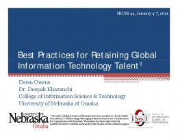 Best Practices for Retaining Global Information Technology Talent1