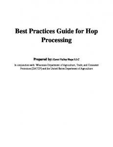 Best Practices Guide for Hop Processing - Gorst Valley Hops