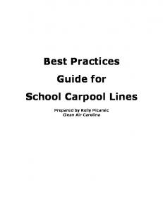 Best Practices Guide for School Carpool Lines - Clean Air Carolina
