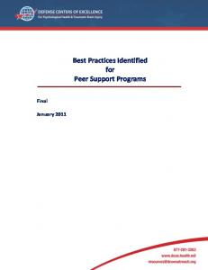 Best Practices Identified for Peer Support Programs - Defense ...