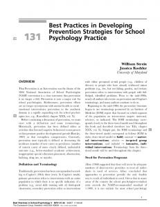 Best Practices in Developing Prevention Strategies for School ...