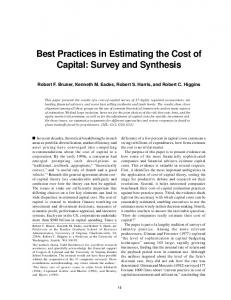 Best Practices in Estimating the Cost of Capital - Lakehead University