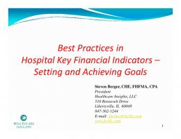 Best Practices in Hospital Key Financial Indicators
