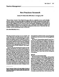 Best Practices Research - STFM
