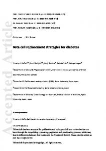 Beta cell replacement strategies for diabetes - CyberLeninka