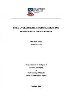 beta-cyclodextrin modification and host-guest complexation - Adelaide