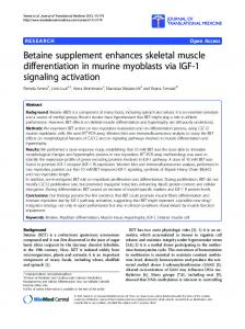 Betaine supplement enhances skeletal muscle ... - BioMedSearch