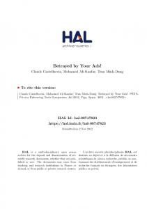 Betrayed by Your Ads! - HAL-Inria