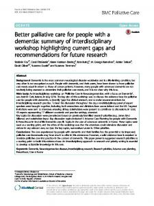 Better palliative care for people with a dementia: summary of ...