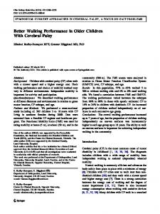 Better Walking Performance in Older Children With Cerebral Palsy