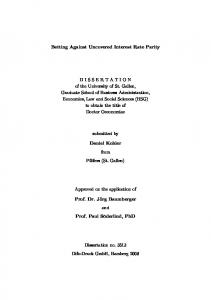 Betting Against Uncovered Interest Rate Parity DISSERTATION of ...