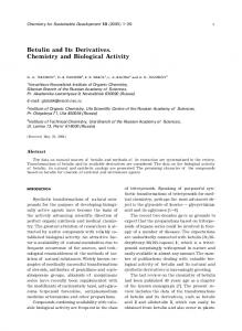 Betulin and Its Derivatives. Chemistry and Biological Activity