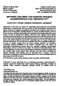 BETWEEN CHILDREN AND PARENTS: HOUSING (IN ... - doiSerbia