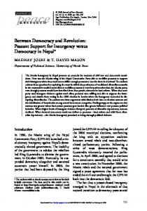 Between Democracy and Revolution: Peasant Support for Insurgency