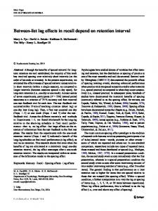 Between-list lag effects in recall depend on retention interval