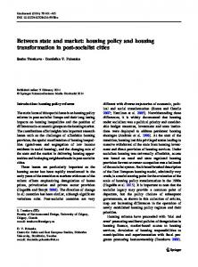 Between state and market: housing policy and housing transformation ...