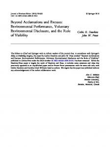 Beyond Acclamations and Excuses: Environmental ... - Springer Link