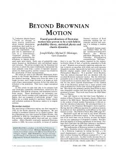 Beyond Brownian Motion