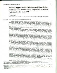 Beyond Copper, Iodine, Selenium and Zinc: Other Elements ... - USDA