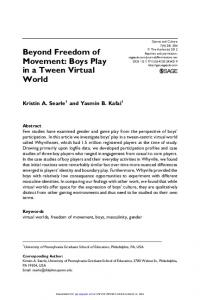 Beyond Freedom of Movement: Boys Play in a Tween ...