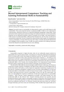 Beyond Interpersonal Competence: Teaching and