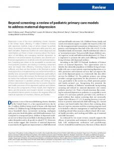 Beyond screening: a review of pediatric primary care