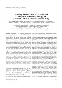 Bi-weekly Administration of Docetaxel and Gemcitabine as First-line ...