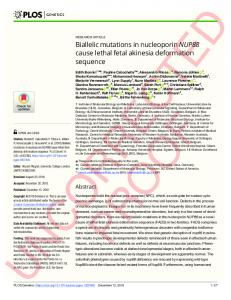 Biallelic mutations in nucleoporin NUP88 cause lethal fetal ... - PLOS