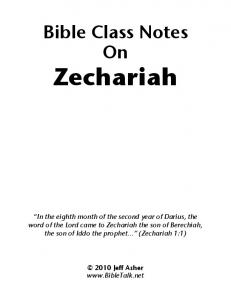 Bible Class Notes on Zechariah