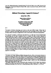 Biblical Chronology: Legend Or Science? - American Scientific ...