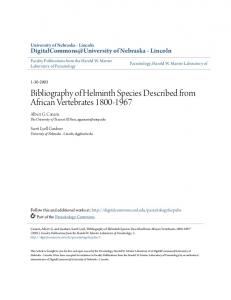 Bibliography of Helminth Species Described from ... - Semantic Scholar