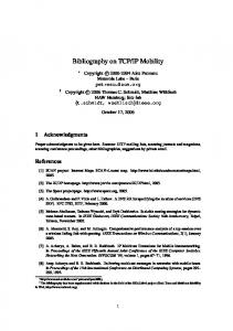 Bibliography on TCP/IP Mobility - REALMv6