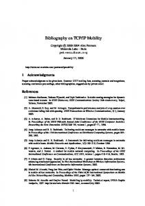 Bibliography on TCP/IP Mobility - UiO
