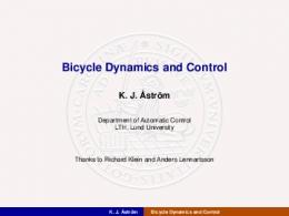 Bicycle Dynamics and Control - Automatic control (LTH)