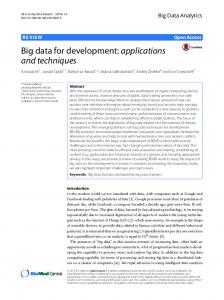 Big Data For Development: Applications and ... - Big Data Analytics