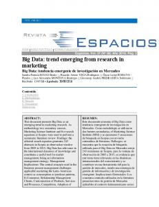 Big Data: trend emerging from research in marketing