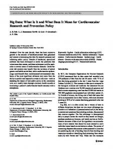 Big Data: What Is It and What Does It Mean for Cardiovascular ...