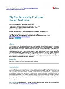 Big Five Personality Traits and Occupy Wall Street - Scientific ...
