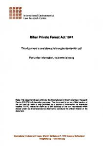 Bihar Private Forest Act 1947 - International Environmental Law ...