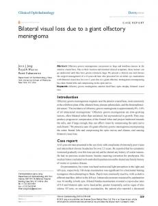 Bilateral visual loss due to a giant olfactory ... - Semantic Scholar