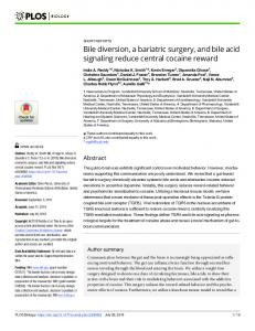 Bile diversion, a bariatric surgery, and bile acid signaling ... - PLOS