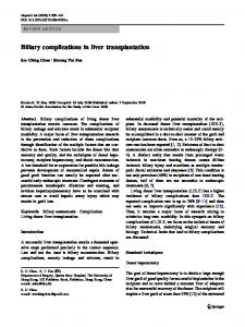 Biliary complications in liver transplantation - BioMedSearch