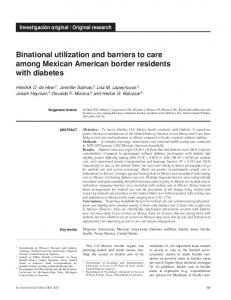 Binational utilization and barriers to care among ... - Semantic Scholar