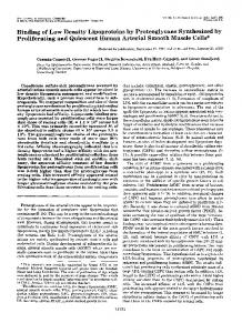 Binding of Low Density Lipoproteins by Proteoglycans Synthesized by ...