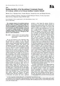 Binding Specificity of the Recombinant Cytoplasmic Domain of ...