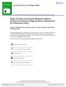 Binge Drinking and Alcohol-Related Problems Among Community ...